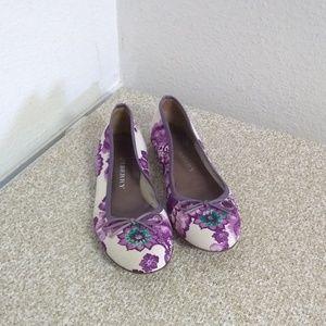 Burberry Floral Print Leather Trim Ballet Flats